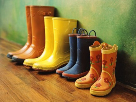 Pairs of adults' and children's rain boots