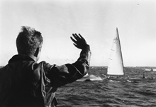"September 1962 President Kennedy waves to the America's Cup crew of the ""Weatherly""."