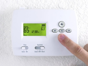 Thermostat set at 65 degrees