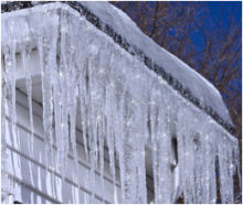 Winter Home with Icicles