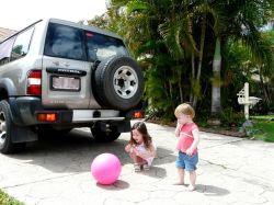 Teach children not to play near cars.