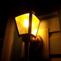 Use yellow lightbulbs in outdoor fixtures, they are not as attractive to bugs as white one.