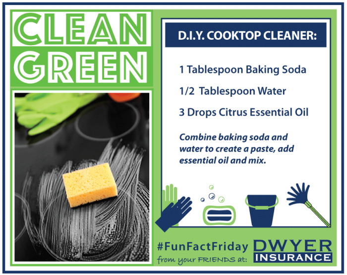 Clean Green D.I.Y. Cooktop Cleaner Recipe from D.F. Dwyer Insurance Agency.