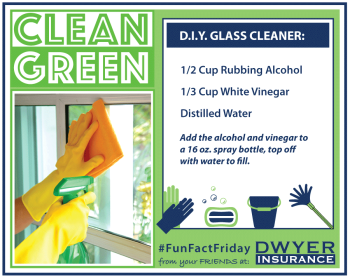 Clean Green D.I.Y. Glass & Mirror Cleaner Recipe from D.F. Dwyer Insurance Agency.