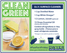 Clean Green D.I.Y. All Surface Cleaner Recipe from D.F. Dwyer Insurance Agency