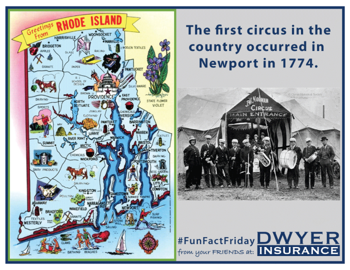 The first circus in the country occurred in Newport in 1774.