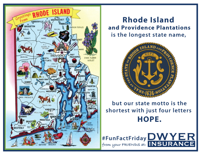 Our state's full, unabbreviated name, Rhode Island and Providence Plantations, is the longest state name, but our state motto is the shortest with just four letters HOPE.