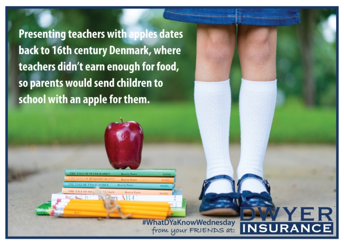 Presenting teachers with apples dates back to 16th century Denmark, where teachers didn't earn enough for food, so parents would send children to school with an apple for them.