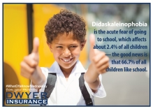Didaskaleinophobia is the acute fear of going to school, which affects about 2.4% of all children—the good news is that 66.7% of children like school.