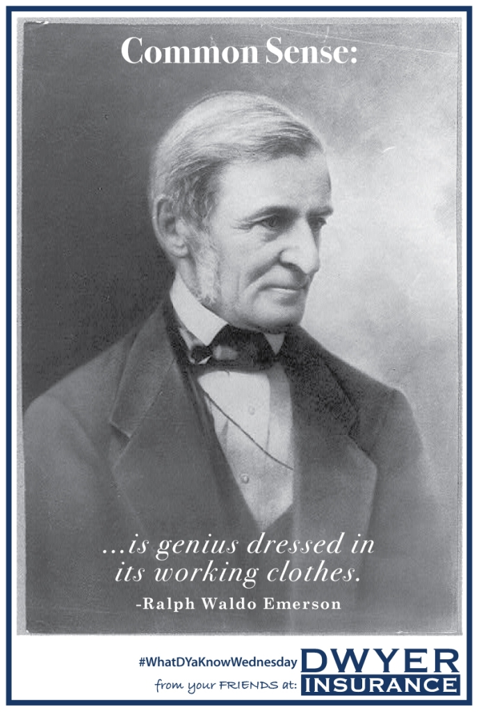 """""""Common Sense is genius dressed in its working clothes."""" – Ralph Waldo Emerson"""