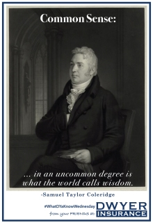 """Common sense in an uncommon degree is what the world calls wisdom."" ― Samuel Taylor Coleridge"