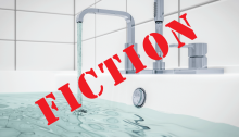 Water stored in bathtubs and sinks should never be used for drinking or for bathing young children because lead can leak from the glaze in bathtubs and sinks into water stored in them.