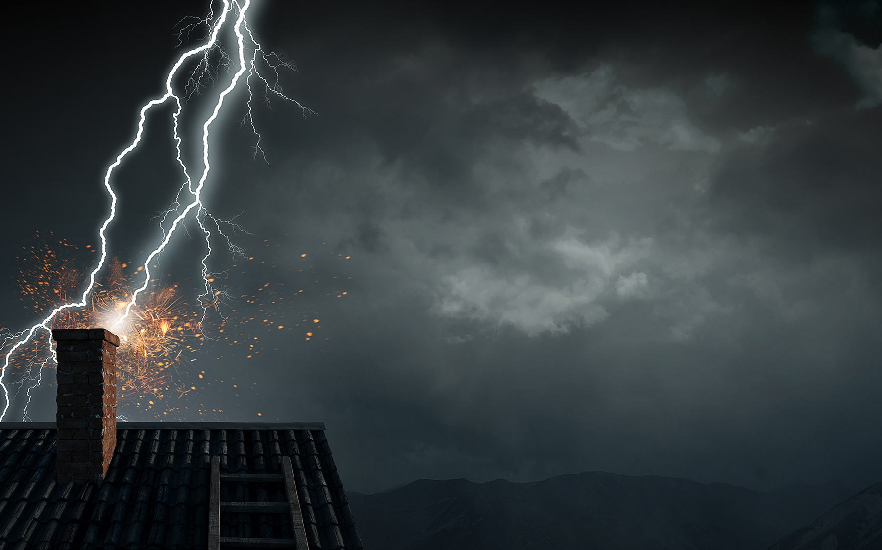 Lightning Striking House Chimney