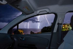 Shelter from lightning in a low, hardtop vehicle